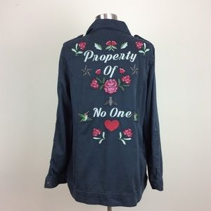 """Torrid """"Property Of No One"""" embroidered jacket 1X"""